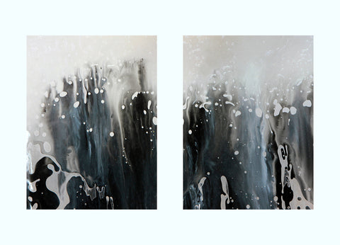 Blue, White, Black Abstract Painting Art Print