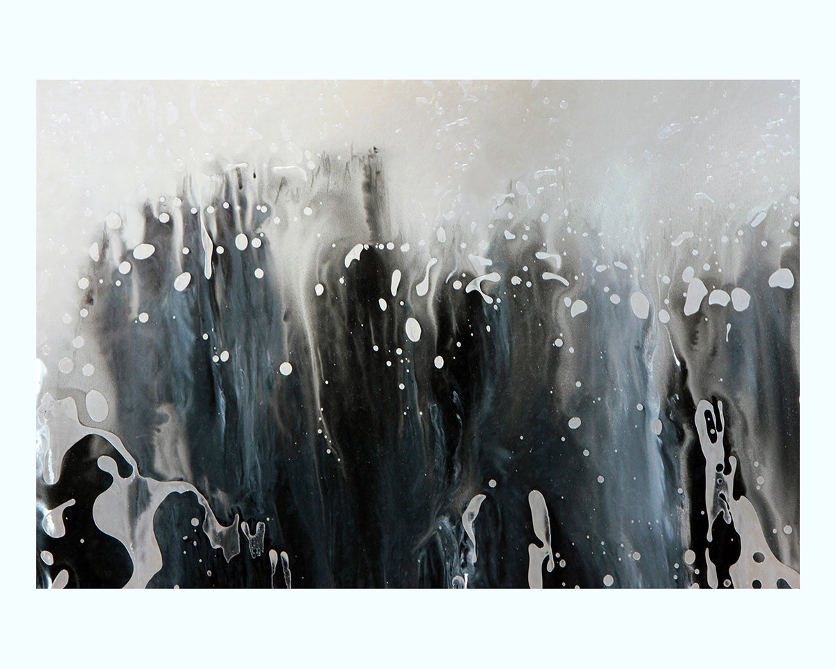Black and White Paint Abstract Art Print