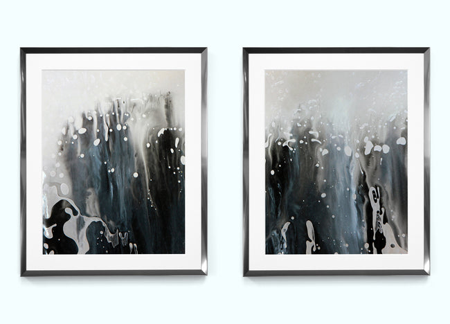 Black and White Paint Abstract Art Print Set