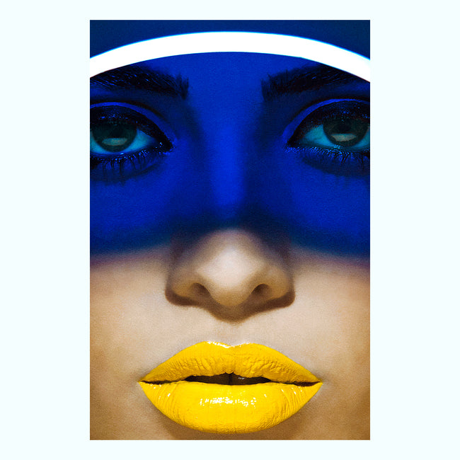 Blue Visor, Yellow Lips Art Print