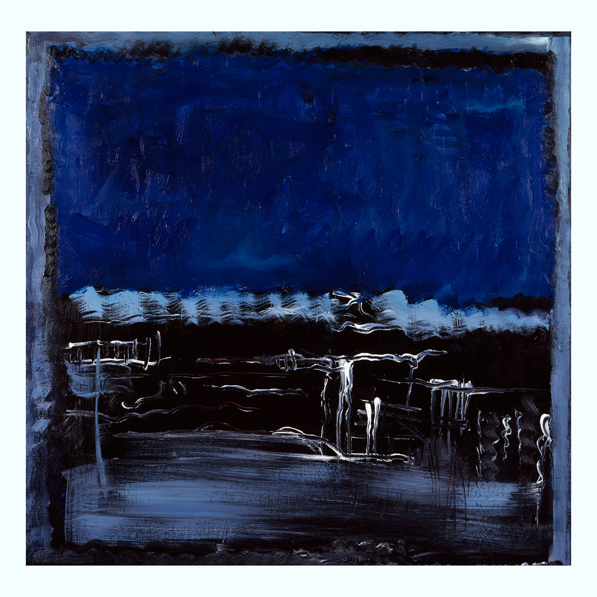 Blue White Black Abstract Painting Art Print