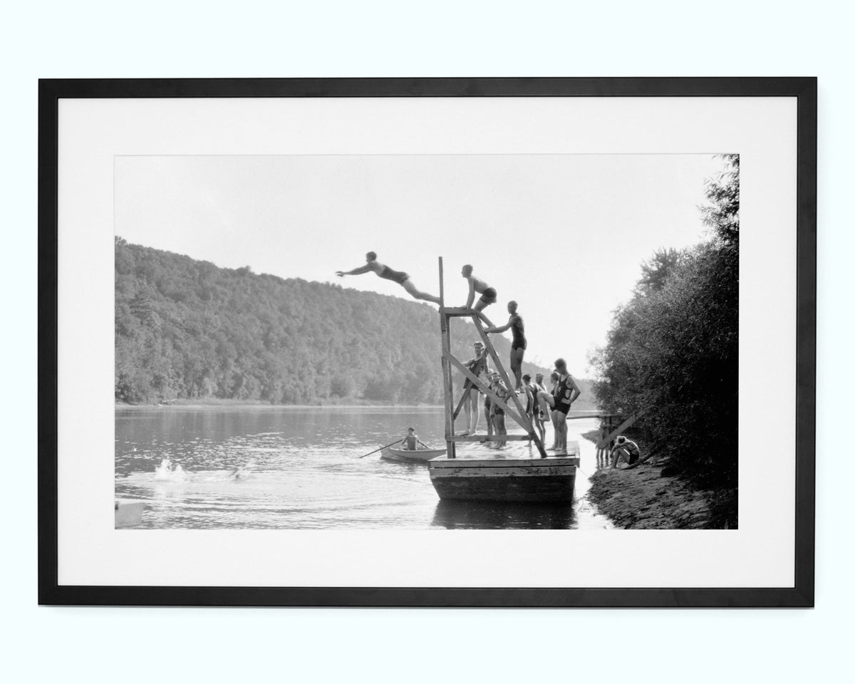 Divers In Lake Art Print