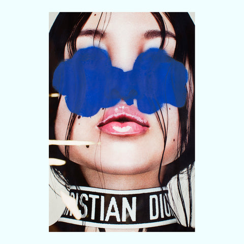 Gold Lips, Blue Skin Art Print