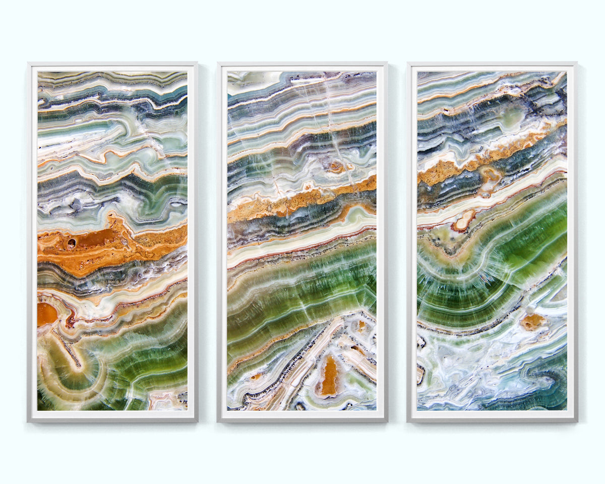 Green and Orange Agate Heaven Art Print Triptych