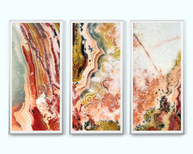 Red & Green Agate Art Print Triptych
