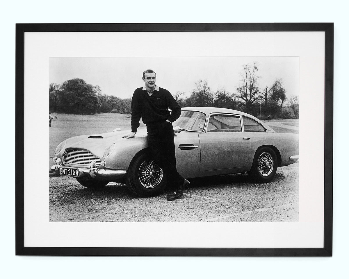 Sean Connery with 007's Aston Martin Art Print