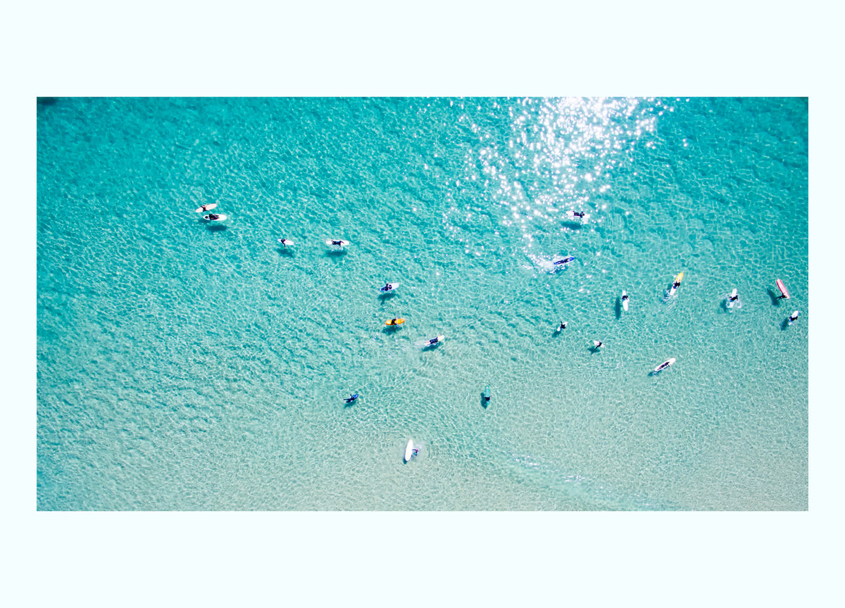 Surfers From Above Art Print