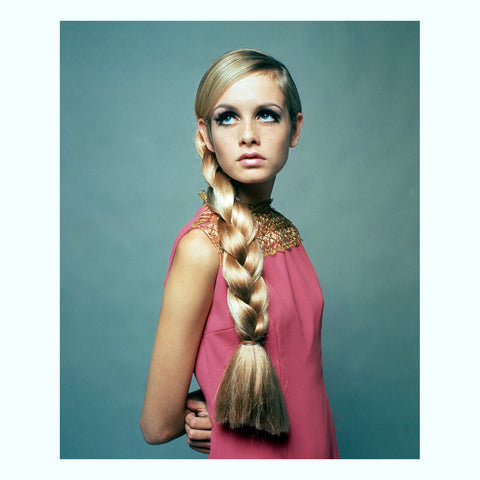 Twiggy, Pink Dress and Plait Art Print