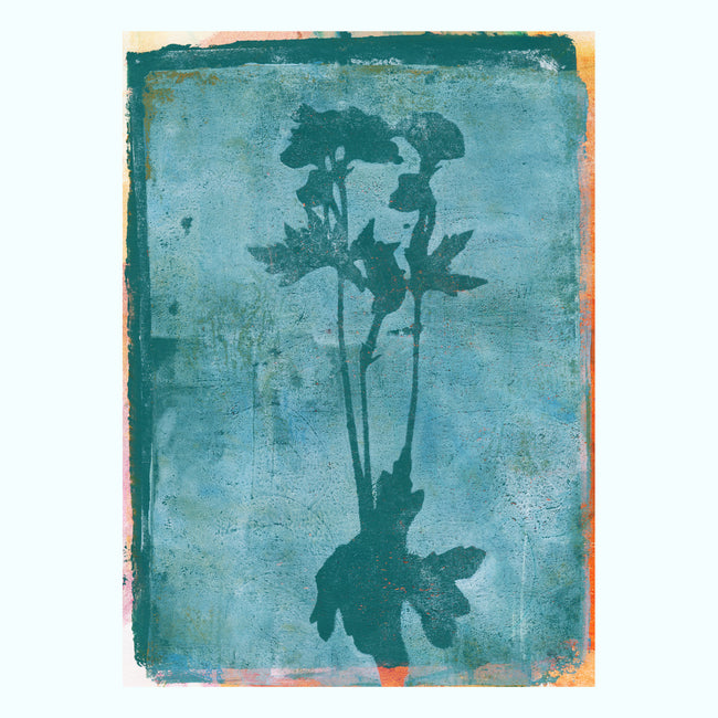 Two Tone Distressed Flower Art Print