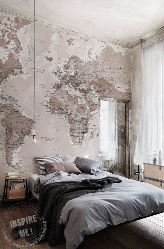Beige Tonal Map Wall Mural