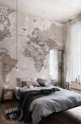 Green & Blue Classic Map Wall Mural