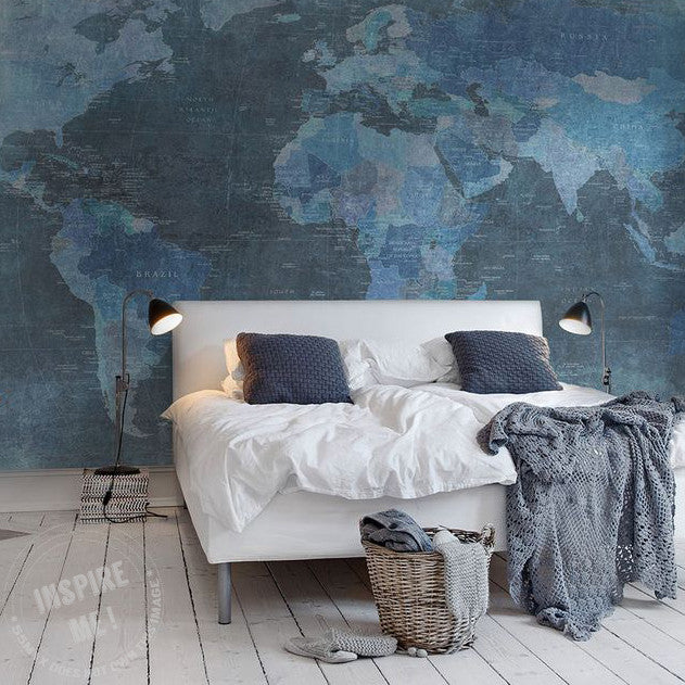 Inverted Blue Map Wall Mural