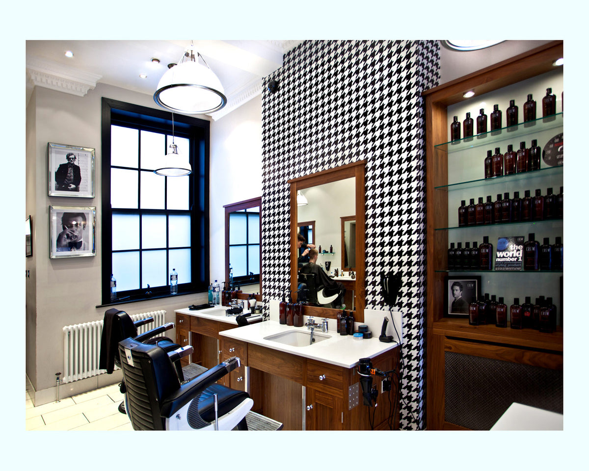 Bespoke Wallpaper & Mirror Frames, Mitchells Barbers
