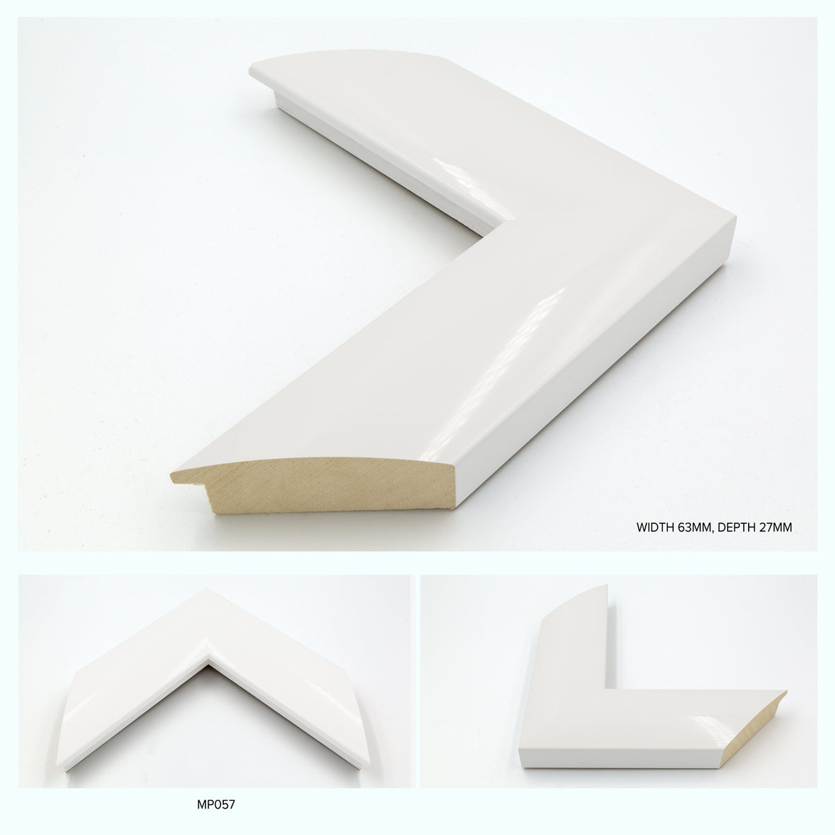 Thick Gloss Curved White Wood