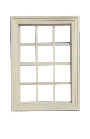 Unpainted Wooden 12 Pane Window in 1:12th scale miniature.
