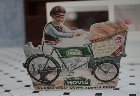 Vintage Hovis Shop Sign in 1:12th scale miniature.