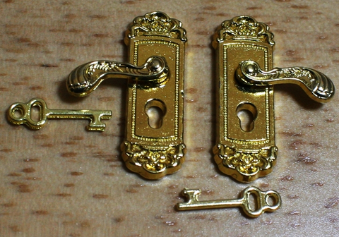 Ornate Lever Door handles and Keys, Polished in 1:12th scale miniature.