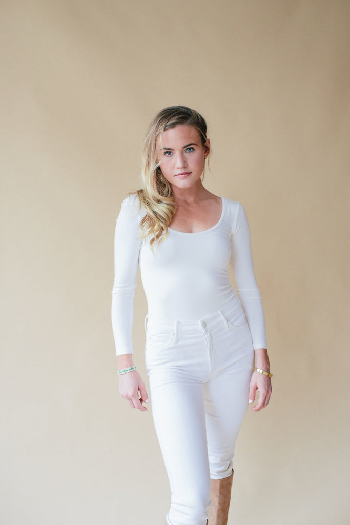 Long Sleeve Bodysuit, Fresh White