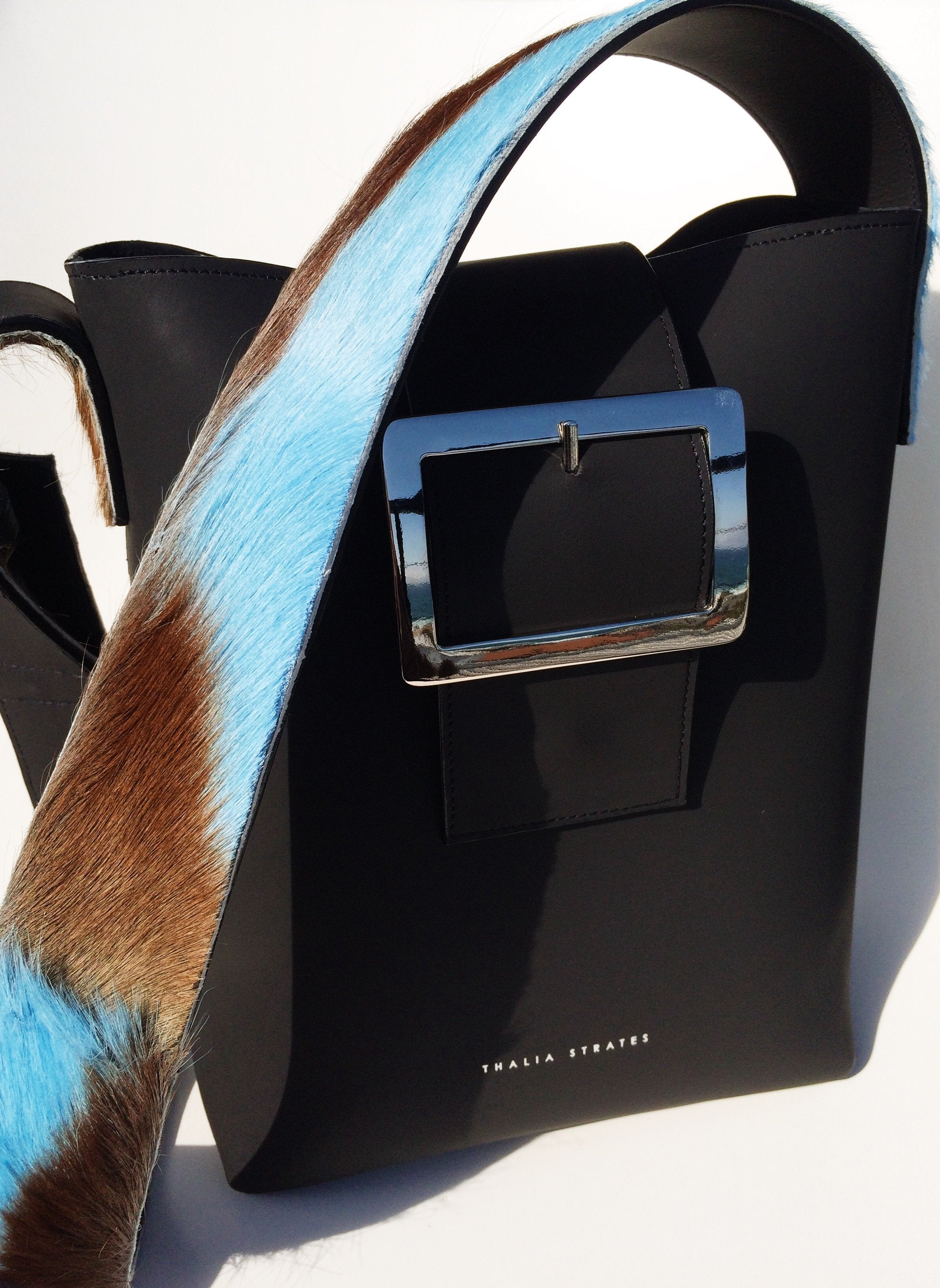 Bianca Shoulder Leather Bag with Springbok fur