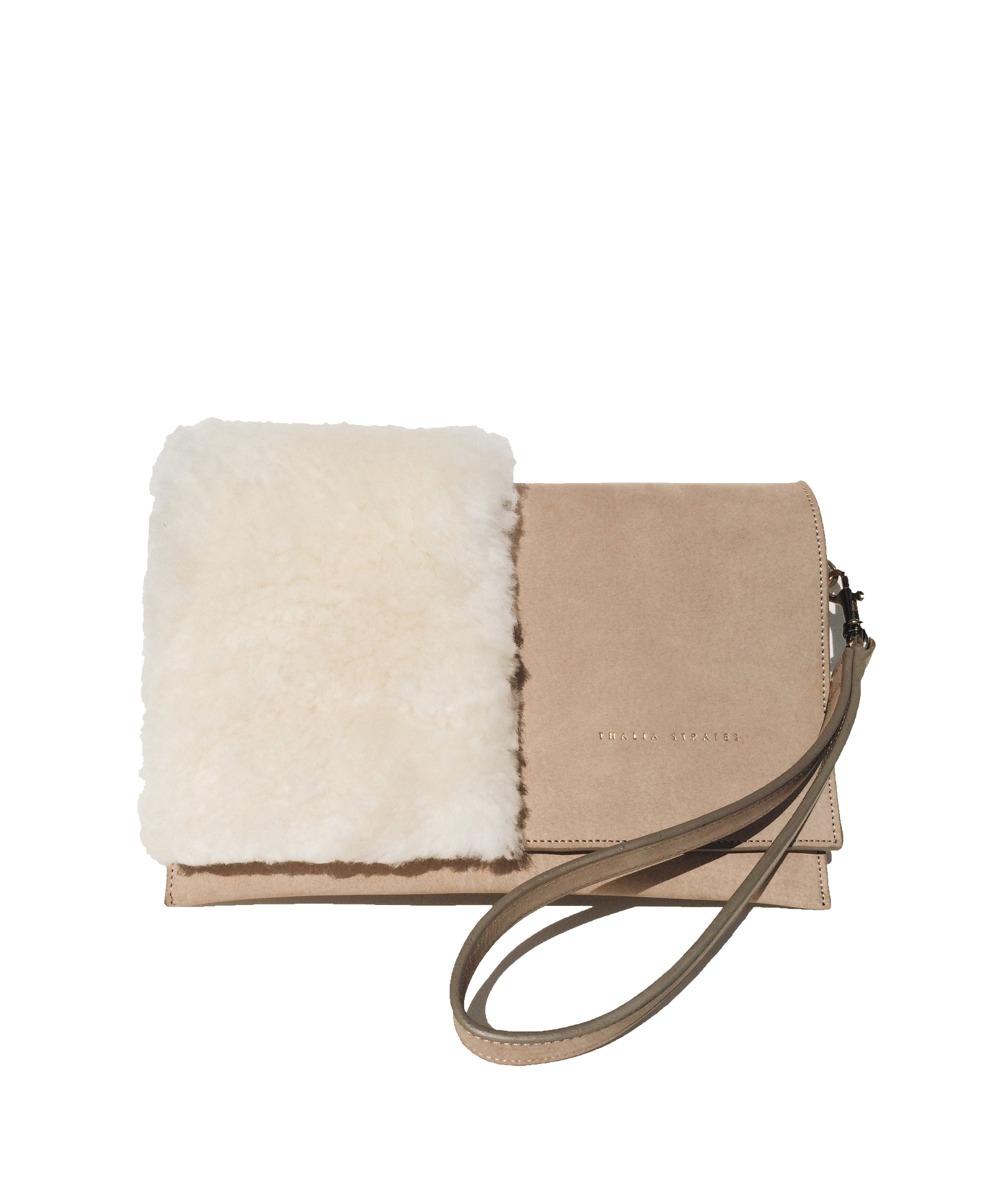 Mali leather bag with shearling details - sand