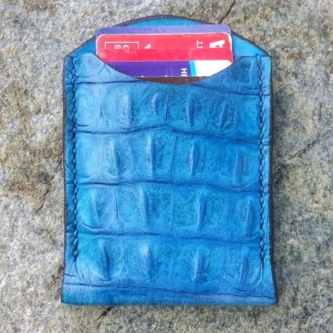 Turquoise Faux Croc Leather Card Holder