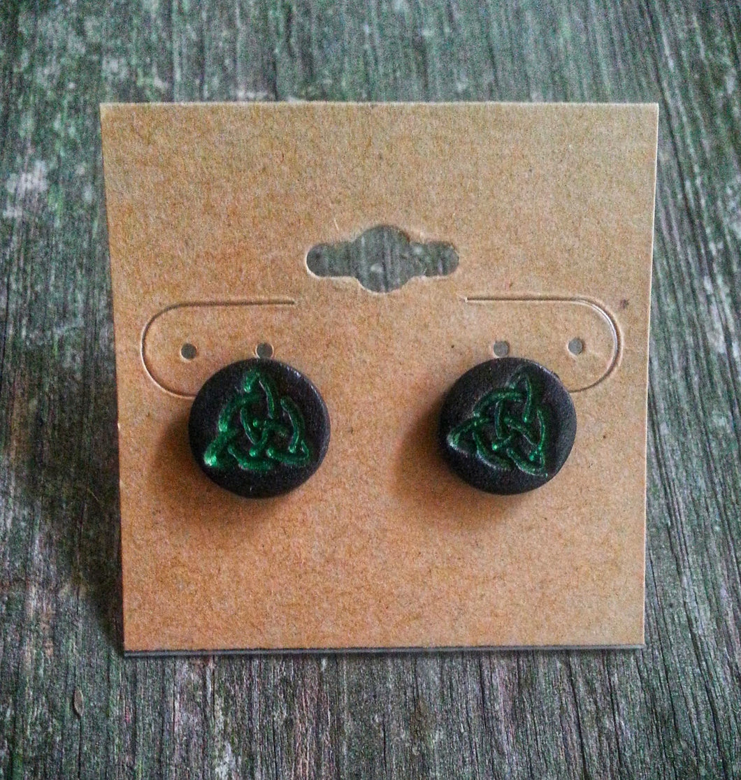 Hand Tooled Leather Green Celtic Triquetra Stud Earrings
