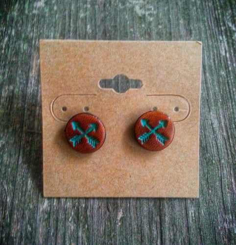 Hand Tooled Leather Turquoise Crossed Arrow Stud Earrings