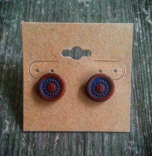 Hand Tooled Leather Blue Sunburst Stud Earrings
