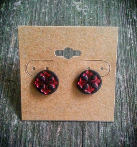 Hand Tooled Leather Red Cross Stud Earrings