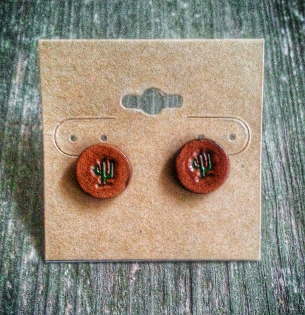 Hand Tooled Leather Cactus Stud Earrings