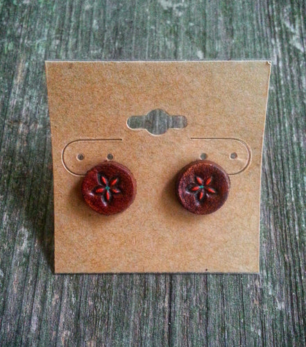 Hand Tooled Leather Orange Flower Stud Earrings