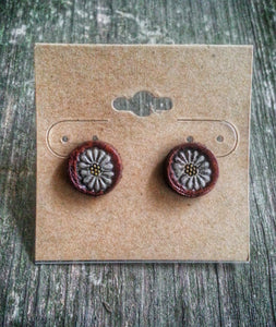 Hand Tooled Leather Daisy Stud Earrings