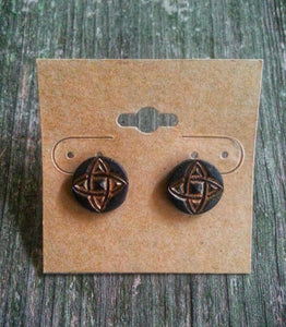 Hand Tooled Leather Gold Celtic Stud Earrings