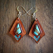 Load image into Gallery viewer, Hand Tooled Leather and Baja Turquoise Inlay Earrings