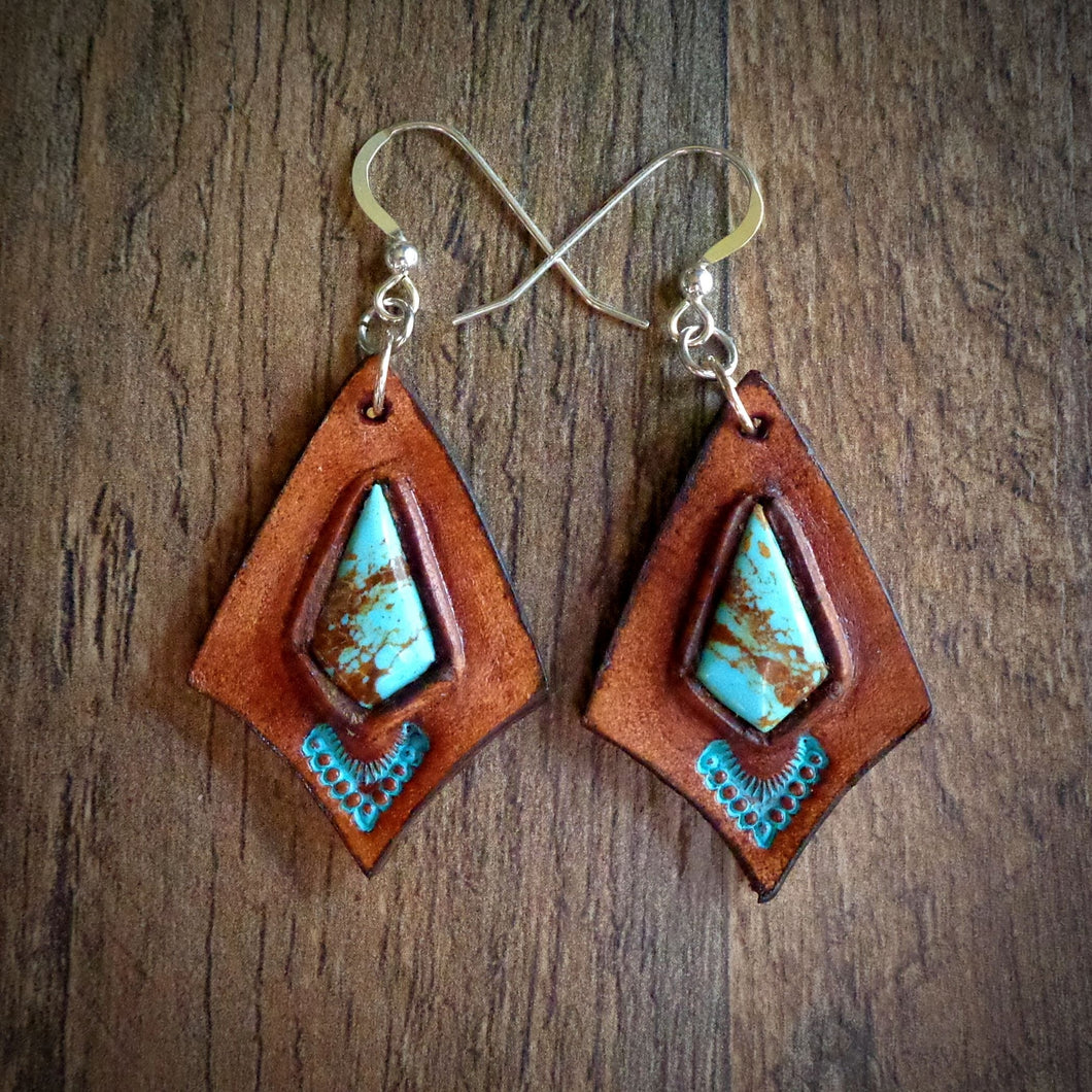 Hand Tooled Leather and Baja Turquoise Inlay Earrings