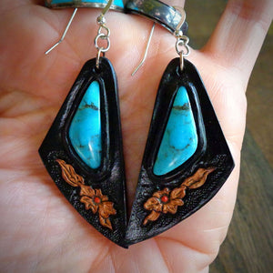 Hand Tooled Leather and Nacozari Turquoise Inlay Earrings