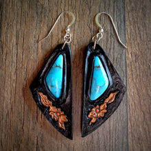 Load image into Gallery viewer, Hand Tooled Leather and Nacozari Turquoise Inlay Earrings