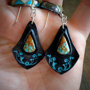 Hand Tooled Leather And No.8 Turquoise Inlay Earrings