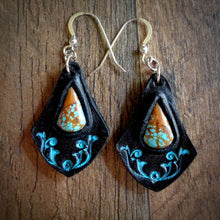 Load image into Gallery viewer, Hand Tooled Leather And No.8 Turquoise Inlay Earrings