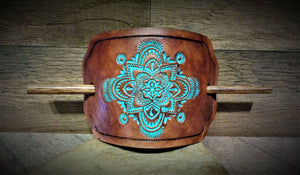 Hand Tooled Turquoise Mandala Leather Stick Barrette