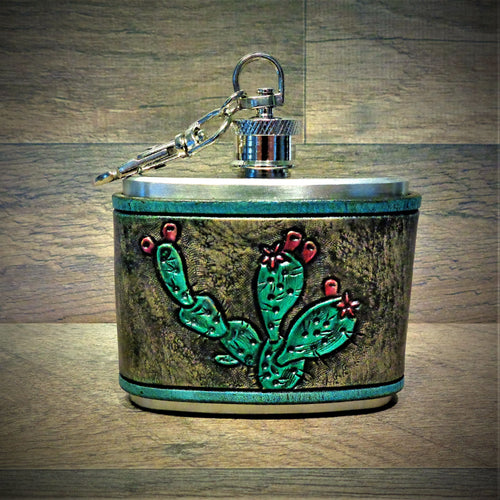 Prickly Pear Cactus Hand Tooled Leather Wrap Steel Clip Flask