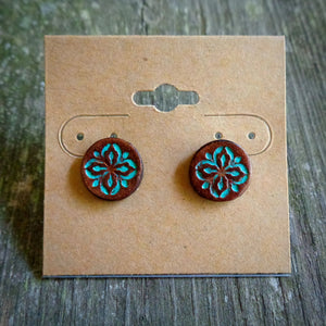 Hand Tooled Leather Turquoise Floral Stud Earrings