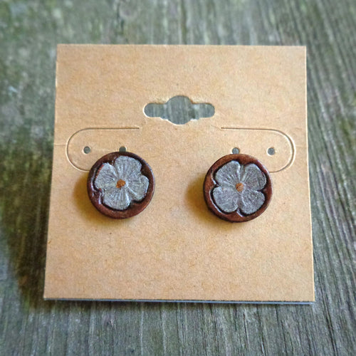 Hand Tooled  Leather Dogwood Stud Earrings