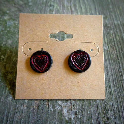Hand Tooled Leather Red Heart Stud Earrings