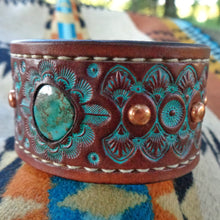 Load image into Gallery viewer, Hand Tooled Leather Cuff with Vintage Royston Turquoise Inlay