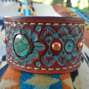 Hand Tooled Leather Cuff with Vintage Royston Turquoise Inlay