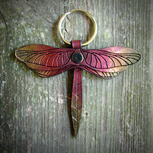 Fire Dragonfly Leather Key Fob