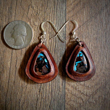 Load image into Gallery viewer, Leather Earrings with Douglas Fir and Globe Turquoise Inlay