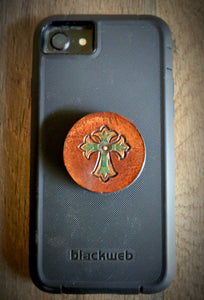 Hand Tooled Leather Cross Phone Grip
