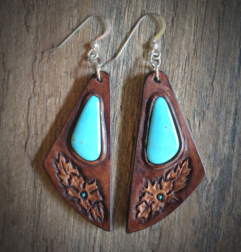 Hand Tooled Leather and  Kingman Turquoise Inlay Earrings